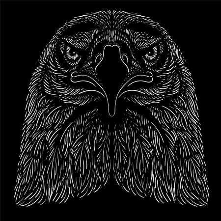 The Vector logo eagle for tattoo or T-shirt design or outwear. Hunting style eagle background. This hand drawing is for black fabric or canvas