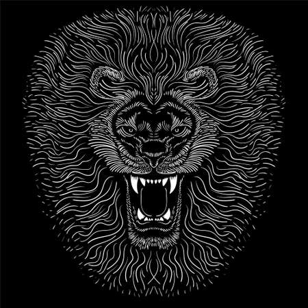 The Vector logo lion for tattoo or T-shirt print design or outwear. Hunting style lions background. This hand drawing would be nice to make on the black fabric or canvas Illustration