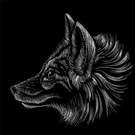 The Vector logo dog or fox for tattoo or T-shirt design or outwear. Cute print style dog or wolf background. This hand drawing would be nice to make on the black fabric or canvas Vectores