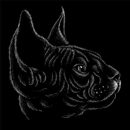 The Vector logo cat for tattoo or T-shirt design or outwear.  Cute print style Halloween cat background. This hand drawing would be nice to make on the black fabric or canvas. Vectores