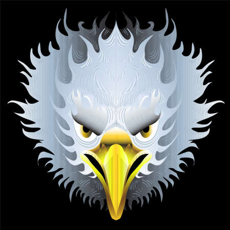 The Vector logo eagle for tattoo or T-shirt design or outwear. Hunting style eagle background. This hand drawing is for black fabric or canvas. Иллюстрация