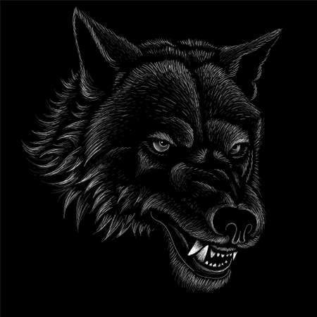 The Vector logo dog or wolf for tattoo or T-shirt design or outwear. Cute print style dog or wolf background. This hand drawing would be nice to make on the black fabric or canvas. Illustration