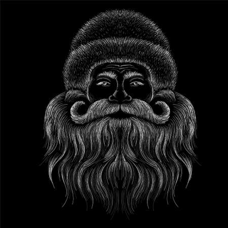 The Vector logo Santa Claus head for tattoo or T-shirt design or outwear. Cute print style Santa background. This drawing would be nice to make on the black fabric or canvas. Иллюстрация