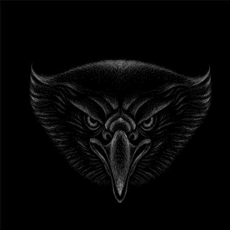 The Vector logo eagle for tattoo or T-shirt design or outwear. Hunting style eagle background. This hand drawing is for black fabric or canvas. Vectores