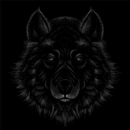 The Vector dog or wolf for tattoo or T-shirt design or outwear. Cute print style dog or wolf background. This hand drawing would be nice to make on the black fabric or canvas Иллюстрация