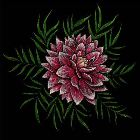 The Vector pattern flowers Peonies for T-shirt design or outwear and or material. This hand drawing would be nice to make on the black fabric or canvas Иллюстрация