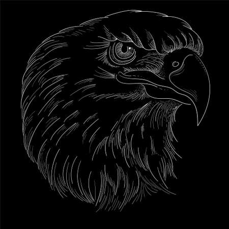 The Vector eagle for tattoo or T-shirt design or outwear. Hunting style eagle background. This hand drawing is for black fabric or canvas