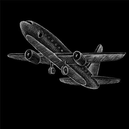 The Vector plane for tattoo or T-shirt design or outwear. Cute print style plane background. This hand drawing would be nice to make on the black fabric or canvas