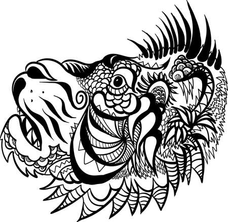 lion for tattoo or T-shirt print design or outwear. Hunting style lions background.