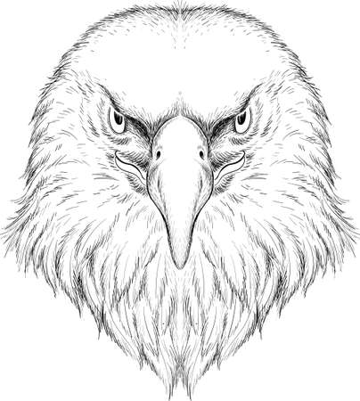 eagle for tattoo or T-shirt design or outwear. Hunting style eagle background. This hand drawing is for black fabric or canvas Иллюстрация