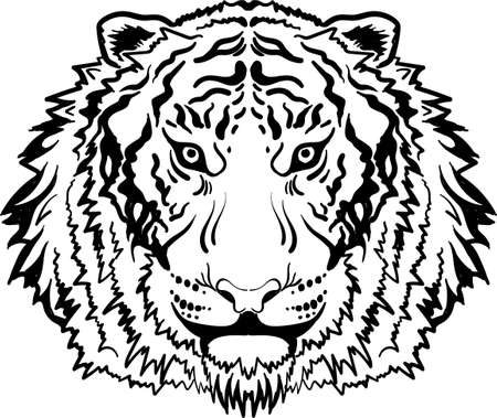 tiger for tattoo or T-shirt design or outwear. Hunting style big cat print on black background.