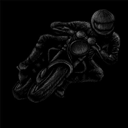 motorcycle vector art illustration T-shirt apparel tattoo design or outwear. Cute print style motorcycle background.