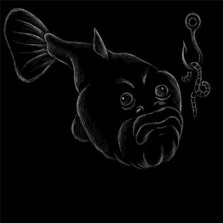 fish on black cloth for T-shirt print design or outwear. Fishing style grouper background. This drawing would be nice to make on the black fabric or canvas. Иллюстрация
