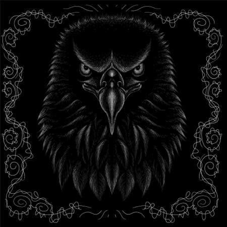 eagle for tattoo or T-shirt design or outwear. Hunting style raven background. Иллюстрация