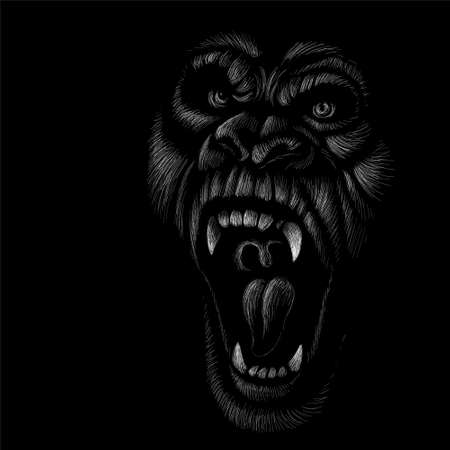 monkey or gorilla named King Kong for tattoo or T-shirt design or outwear. Cute print style a monkey or gorilla named King Kong background. Иллюстрация