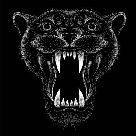 The Vector tiger for tattoo or T-shirt design or outwear. Hunting style big cat print on black background. This hand drawing is for black fabric or canvas.