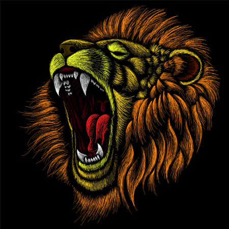 The Vector logo lion for tattoo or T-shirt print design or outwear. Hunting style lions background. This hand drawing would be nice to make on the black fabric or canvas