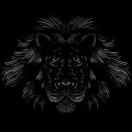 The Vector lion for tattoo or T-shirt print design or outwear. Hunting style lions background. This hand drawing would be nice to make on the black fabric or canvas Vektorové ilustrace