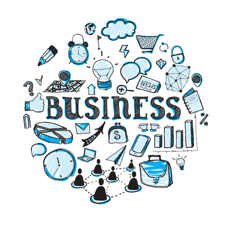 Cute doodle on the business theme in blue color Vector