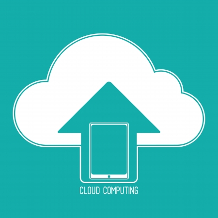 communicable: Cloud computing concept. Client tablet synchronizing data with the cloud. icon on a background of blue-green.