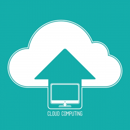 synchronizing: Cloud computing concept. Client personal computer synchronizing data with the cloud. icon on a background of blue-green.