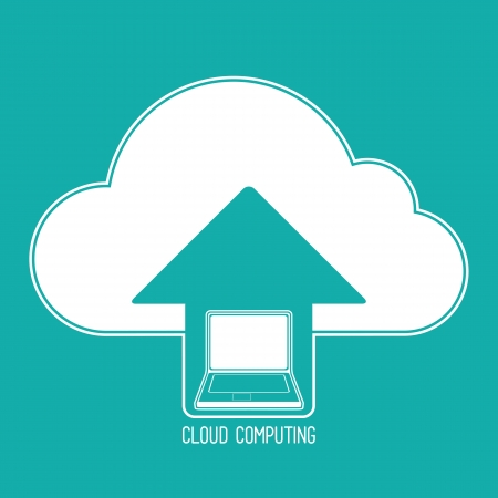 Cloud computing concept. Client laptop synchronizing data with the cloud. Icon on a background of blue-green. Vector