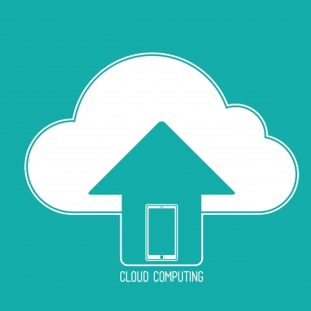 Cloud computing concept. Client mobile phone synchronizing data with the cloud. icon on a background of blue-green.  Vector