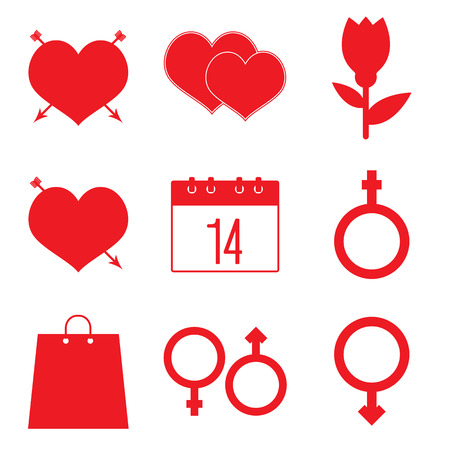 hearty: Romantic icons for Valentines day holiday. Symbols