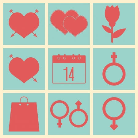 Romantic icons for Valentine's day holiday. Symbols   Vector