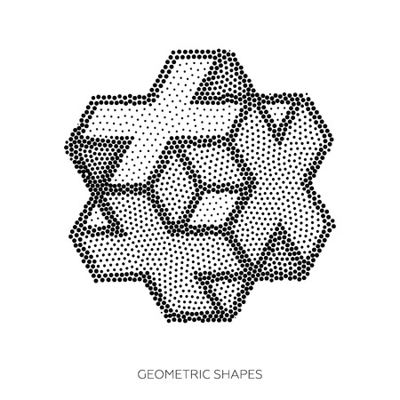 pointillism: Isometric abstract geometric design elements are assembled from a set of points. Perfectly suited to background, structural design
