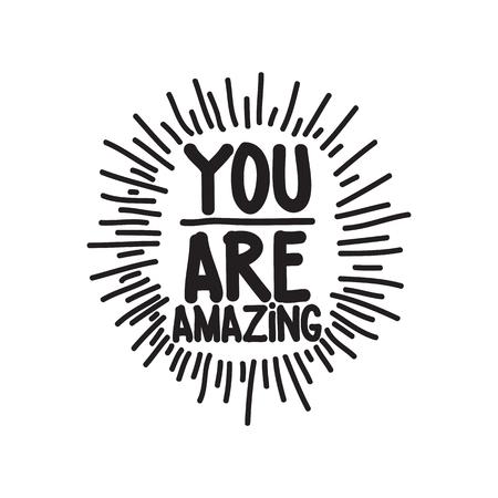 cotizacion: Eres fabuloso. dibujado a mano la cita de la inspiración caligráfica Vectores