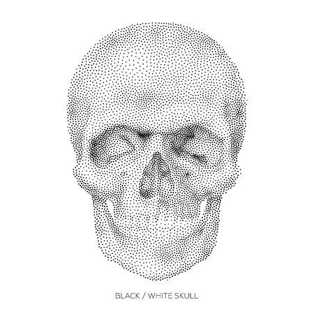 horror: Stylized Bony skeleton of the face and the anterior part of the skull, design element, vintage illustration in pointillism style