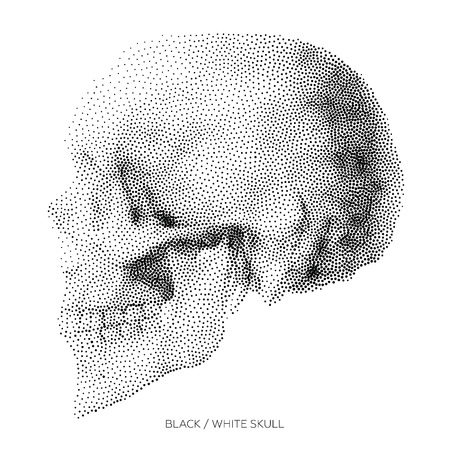 bony: Stylized Bony skeleton of the face and the side part of the skull, design element, vintage illustration in pointillism style Illustration
