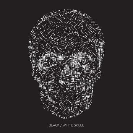 diavoli: Stilizzata scheletro osseo del viso e la parte anteriore del cranio, elemento di design, illustrazione d'epoca in stile puntinismo