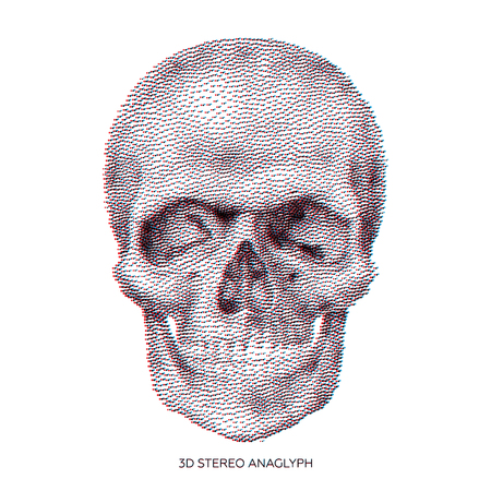 Stylized stereo anaglyphic 3D Bony skeleton of the face and the anterior part of the skull, design element, vintage illustration in pointillism style