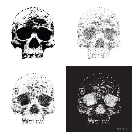 bony: Collection of stylized bony skeleton of the face, design elements In Monochrome. vintage Skulls Illustrations in pointillism style
