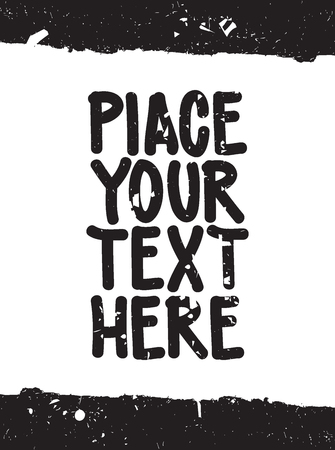 your text here: Place your text here. Speech bubble with modern grange border for your quote, text, good idea Illustration