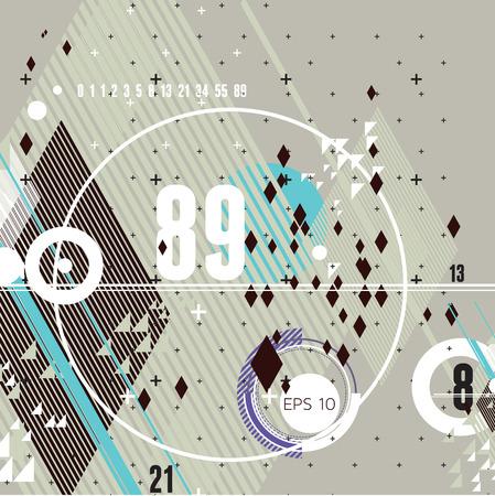 fibonacci number: modern futuristic composition of simple geometric shapes