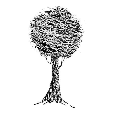 grunge tree: Grunge tree. on a white background Illustration