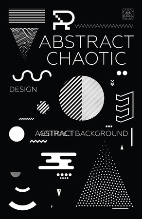goes: Modern universal chaotic composition of simple geometric shapes in material design. It goes well with the text, poster, magazine, decor. In classic black and white colors