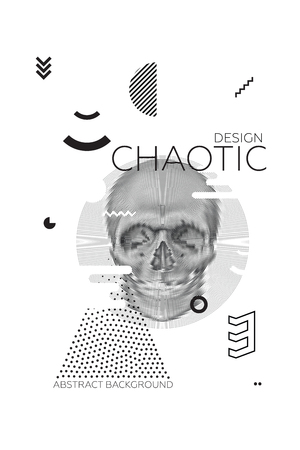 randomness: Modern universal chaotic composition of simple geometric shapes, skull in spiral texture, material design. It goes well with the text, poster, magazine, decor. In classical black and white colors Illustration