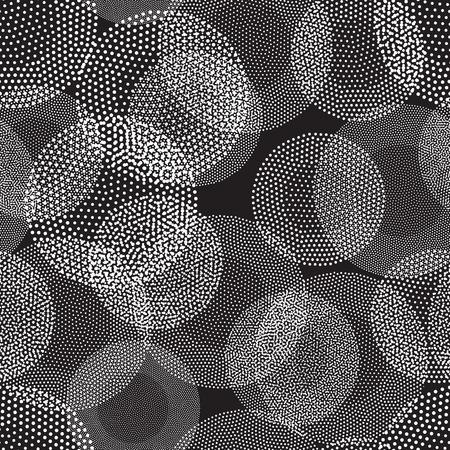 Modèle sans couture géométrique de vecteur. Les cercles abstraits répétés universels sont en noir et blanc. Design de cercle de demi-teinte moderne, pointillisme