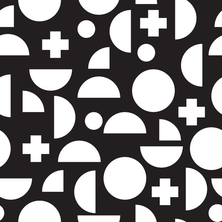 nineties: Modern seamless pattern with simple geometric figures in Memphis style,  perfect for web background or print wrapping decoration and fashion textile, fabric design.