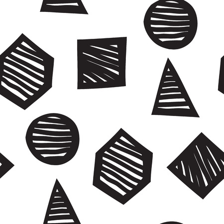 seldom: Vector seamless geometric doodle pattern. Abstract minimalist pattern with linear figure in black and white. Design background for fashion textile print, wrapping paper or web background Illustration