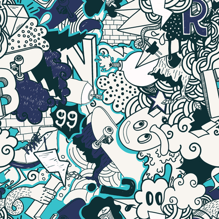 skate board: Colorful seamless pattern. Graffiti doodles street art illustration in blue colors. Composition bizarre elements and characters for skate board, street clothing, streetwear, wallpapers textile fabric
