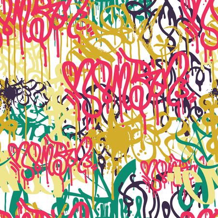 カラフルなシームレス パターン。落書き手スタイルの古い学校は、ストリート アートの図をいたずら書き。タグ、標識、スケート ボードの要素の
