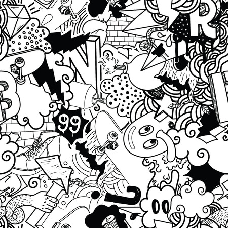 Seamless pattern. Graffiti doodles street art illustration in black white. Composition with bizarre elements and characters for skate board, street clothing, streetwear, wallpapers, textile, fabric