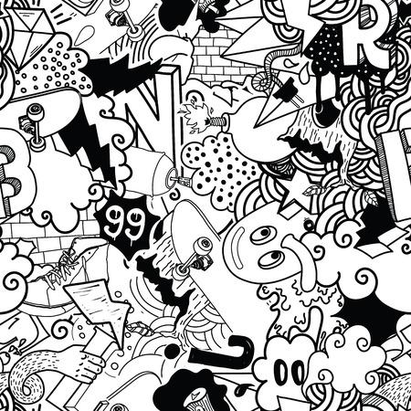 Naadloos patroon. Graffiti doodles street art illustratie in zwart-wit. Compositie met bizarre elementen en karakters voor skate board, straat kleding, streetwear, wallpapers, stof