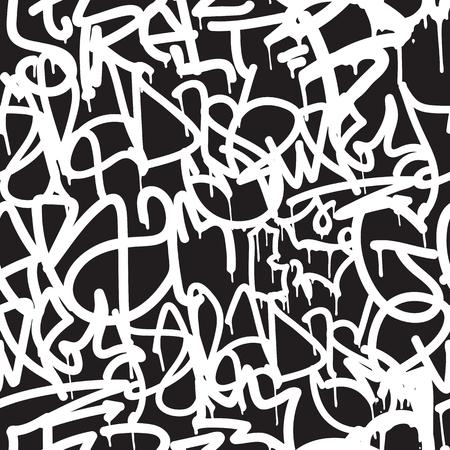 background Graffiti seamless. Vector Balises, l'écriture. style main Graffiti, vieille école. Roi de style, street art texture. Monochrome couleurs noir et blanc