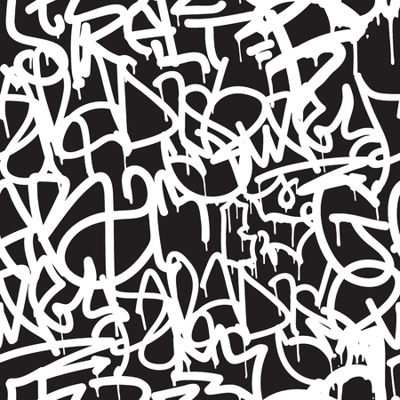 Graffiti background seamless pattern. Vector Tags, writing. Graffiti hand style, old school. King of style, street art texture. Monochrome black and white colors 矢量图像